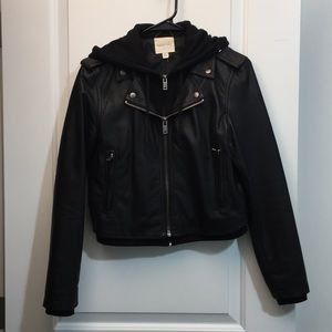 Black Faux Leather Jacket with Hoodie
